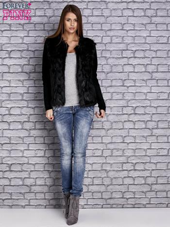 Czarny sweter z futerkiem                                  zdj.                                  2