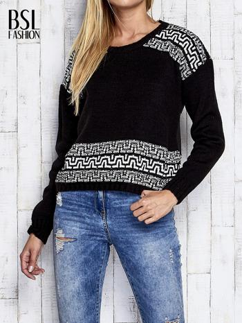 Czarny sweter z geometrycznymi splotami                                  zdj.                                  1