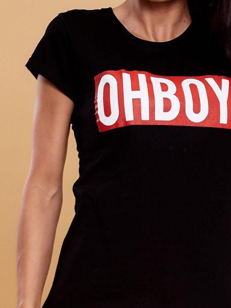 Czarny t-shirt damski OH BOY                              zdj.                              5