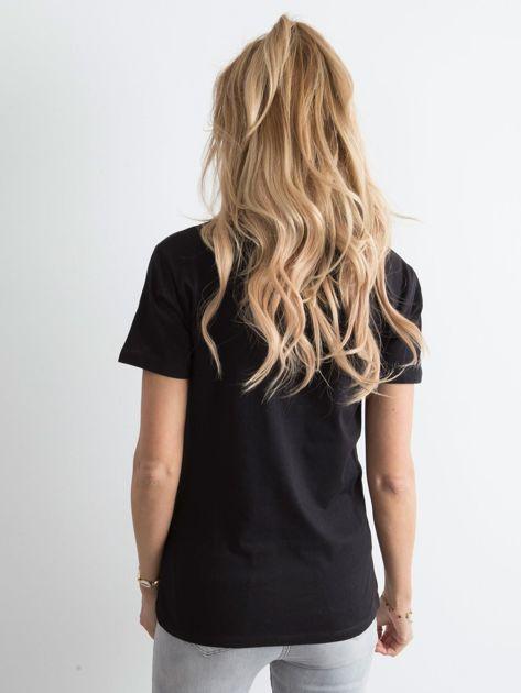 Czarny t-shirt damski z nadrukiem                              zdj.                              2