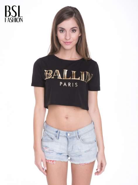 Czarny t-shirt typu crop top ze złotym napisem BALLIN PARIS                                  zdj.                                  1