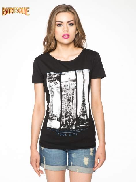 Czarny t-shirt z fotografiami miast                                  zdj.                                  12