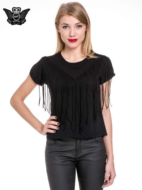 Czarny t-shirt z frędzlami z przodu