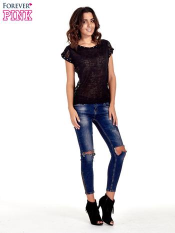 Czarny t-shirt z koronkowym tyłem i dżetami                                  zdj.                                  7