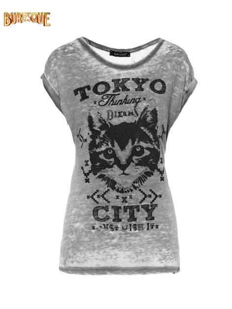 Czarny t-shirt z kotem i napisem TOKYO CITY
