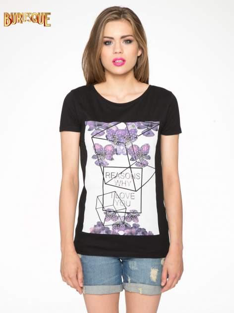 Czarny t-shirt z kwiatowym nadrukiem zdobionym dżetami                                  zdj.                                  11