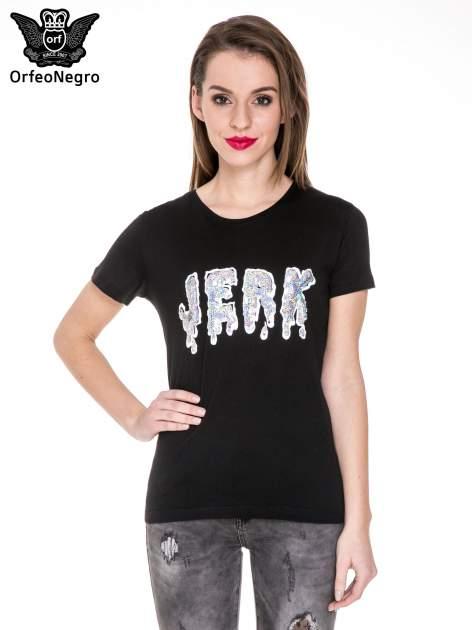 Czarny t-shirt z metalicznym napisem JERK                                  zdj.                                  1