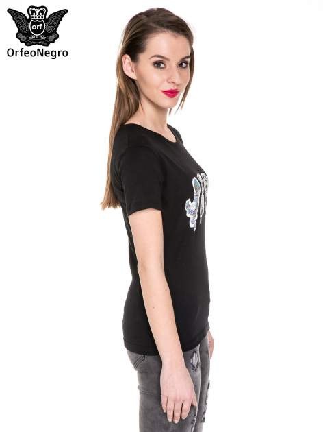 Czarny t-shirt z metalicznym napisem JERK                                  zdj.                                  3