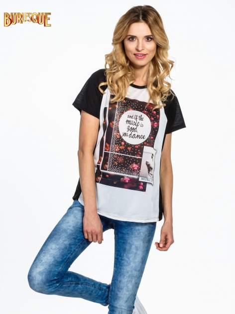 Czarny  t-shirt z motywem muzycznym