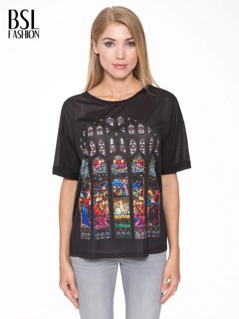 Czarny t-shirt z motywem religijnym                                  zdj.                                  1