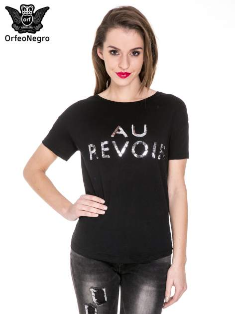 Czarny t-shirt z nadrukiem AU REVOIR z cekinów                                  zdj.                                  1