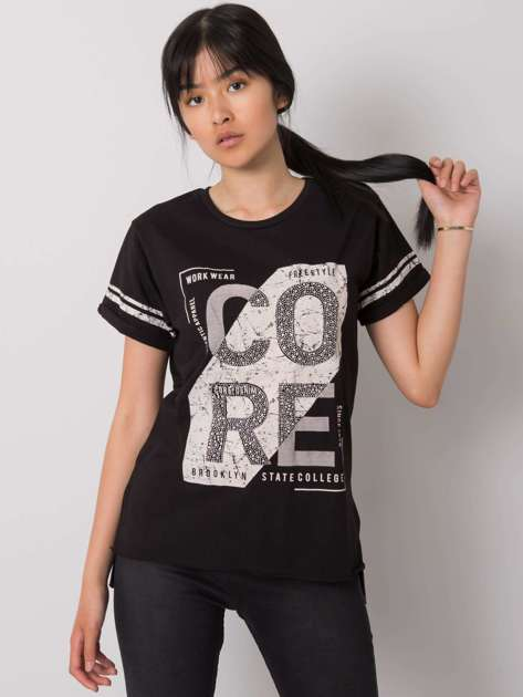 Czarny t-shirt z nadrukiem Amber