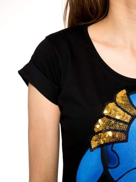 Czarny t-shirt z nadrukiem Stich                                  zdj.                                  5
