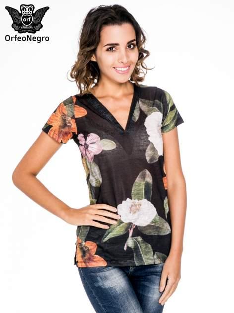 Czarny t-shirt z nadrukiem all over floral print