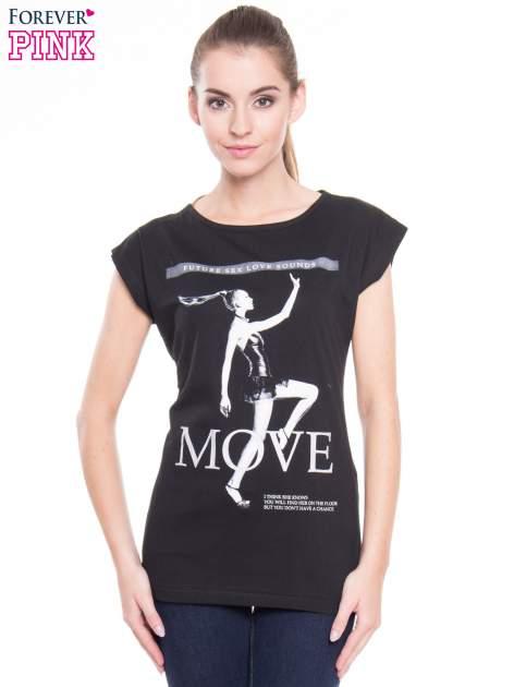 Czarny t-shirt z nadrukiem kobiety i napisem MOVE                                  zdj.                                  1