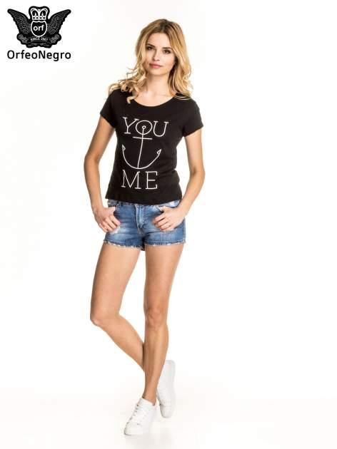 Czarny t-shirt z nadrukiem kotwicy                                  zdj.                                  5