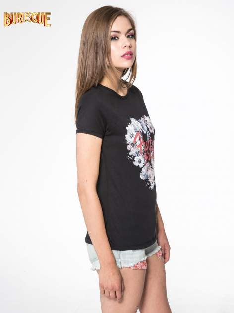 Czarny t-shirt z nadrukiem kwiatowym PRETTY GIRL                                  zdj.                                  3