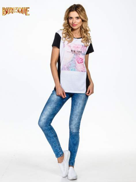 Czarny t-shirt z nadrukiem kwiatowym i napisem NEW YORK                                  zdj.                                  6