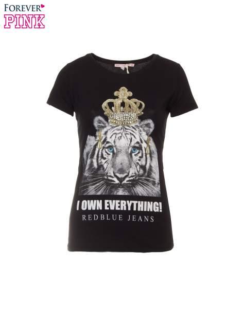 Czarny t-shirt z nadrukiem tygrysa z koroną                                  zdj.                                  2