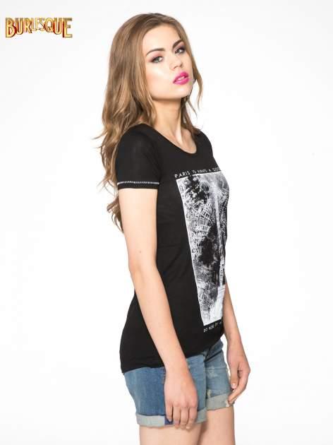 Czarny t-shirt z nadrukiem wieży Eiffla                                  zdj.                                  3