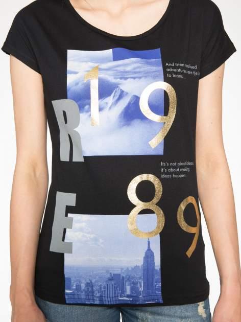 Czarny t-shirt z napisem 1989                                  zdj.                                  6