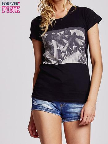 Czarny t-shirt z napisem GANG                                  zdj.                                  1