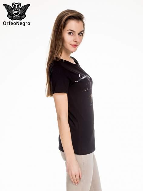 Czarny t-shirt z napisem LAUGH AS MUCH                                  zdj.                                  3