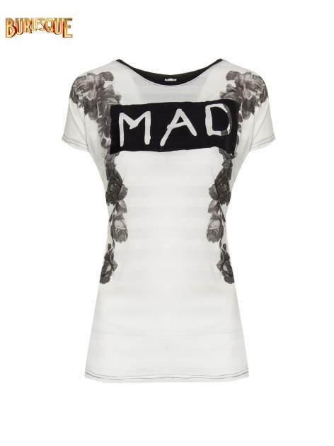 Czarny t-shirt z napisem MAD i kwiatowym nadrukiem                                  zdj.                                  1
