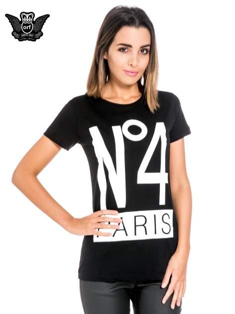 Czarny t-shirt z napisem NO. 4 PARIS                                  zdj.                                  1