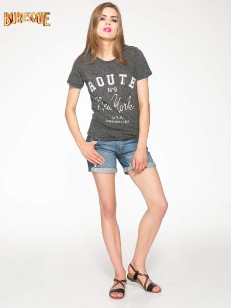 Czarny t-shirt z napisem ROUTE NEW YORK                                  zdj.                                  2