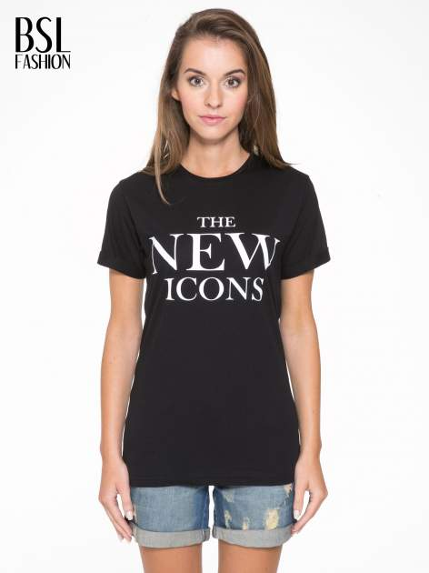 Czarny t-shirt z napisem THE NEW ICONS                                  zdj.                                  1