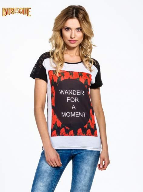 Czarny t-shirt z napisem WONDER FOR A MOMENT