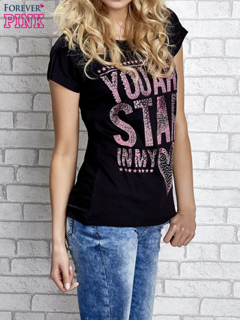 Czarny t-shirt z napisem YOU ARE STAR IN MY HEART z dżetami                                  zdj.                                  3
