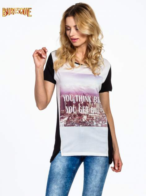 Czarny t-shirt z napisem YOU THINK BIG YOU GET BIG