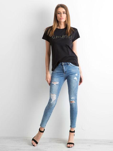 Czarny t-shirt  z napisem z koralików                               zdj.                              4