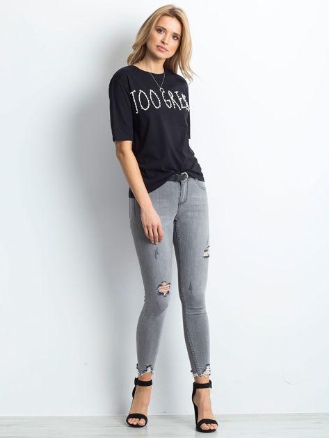 Czarny t-shirt z napisem z perełek                                  zdj.                                  5