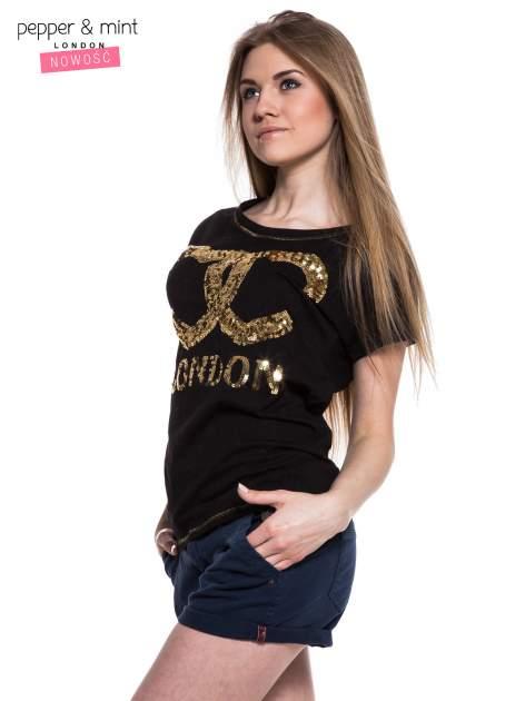 Czarny t-shirt z sercami z cekinów i nadrukiem LONDON                                  zdj.                                  2