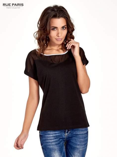 Czarny t-shirt z siateczkową górą i kontrastową lamówką                                  zdj.                                  1