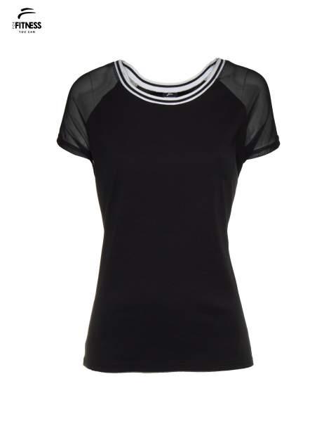 Czarny t-shirt z transparentnymi rękawami                                  zdj.                                  2