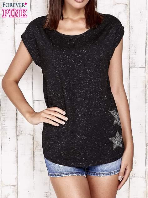 Czarny t-shirt ze srebrną nitką i aplikacją z dżetów                                  zdj.                                  1