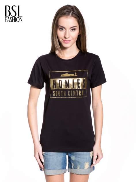 Czarny t-shirt ze złotym napisem HOMIES SOUTH CENTRAL