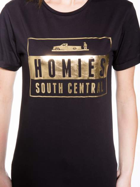 Czarny t-shirt ze złotym napisem HOMIES SOUTH CENTRAL                                  zdj.                                  6