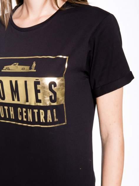 Czarny t-shirt ze złotym napisem HOMIES SOUTH CENTRAL                                  zdj.                                  7