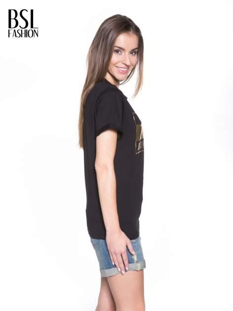 Czarny t-shirt ze złotym napisem HOMIES SOUTH CENTRAL                                  zdj.                                  3