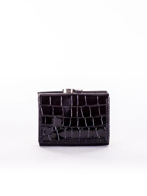Czarny tłoczony portfel ze skóry ekologicznej