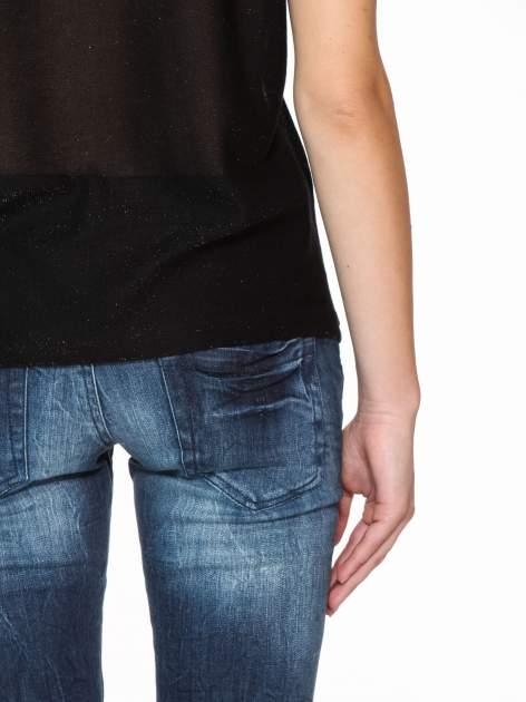 Czarny transparentny t-shirt przeplatany srebrną nicią                                  zdj.                                  11