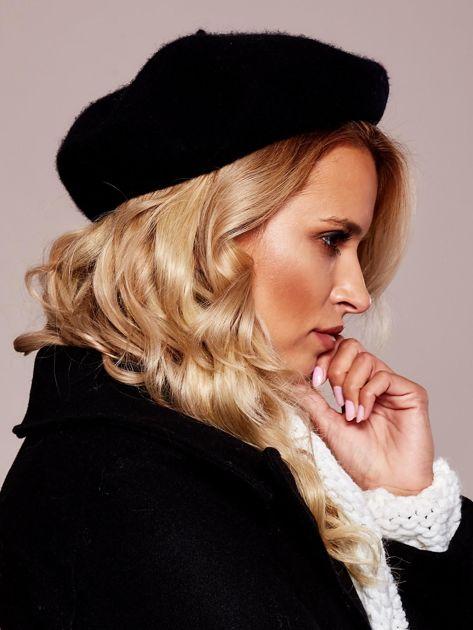 Czarny wełniany beret                              zdj.                              5