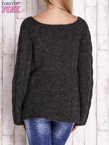 Czarny wełniany sweter z warkoczowym splotem                                  zdj.                                  4