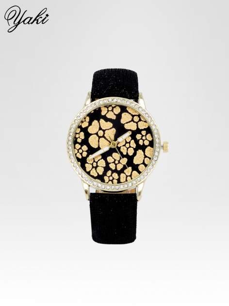 Czarny zegarek damski na błyszczącym paski z cyrkoniami na kopercie