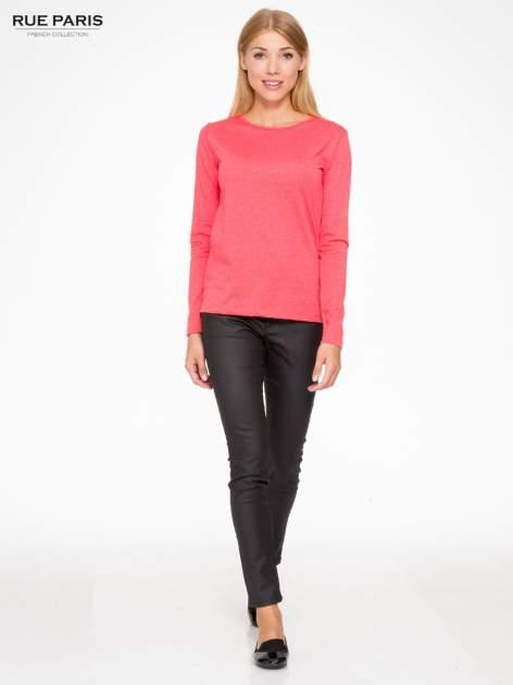 Czerwona basicowa bluzka z długim rękawem                                  zdj.                                  2